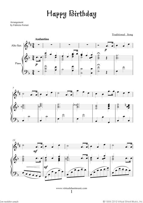 printable happy birthday sheet music alto sax free happy birthday sheet music for alto saxophone and piano