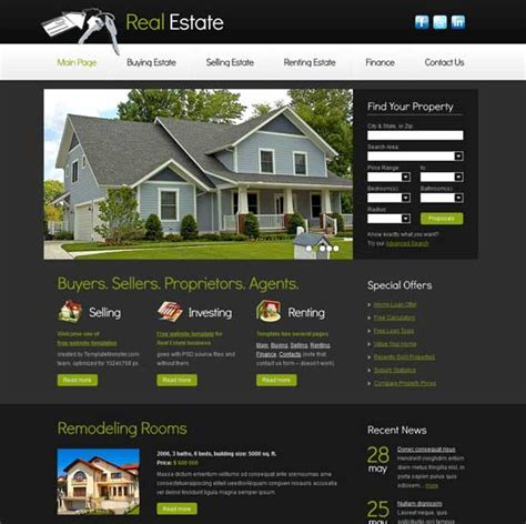 templates for real estate website free download real estate website templates cyberuse