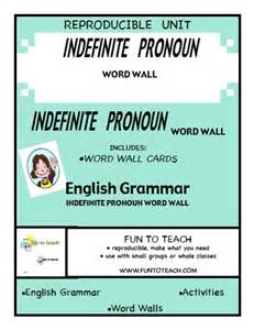 indefinite pronouns all each many word wall fun to