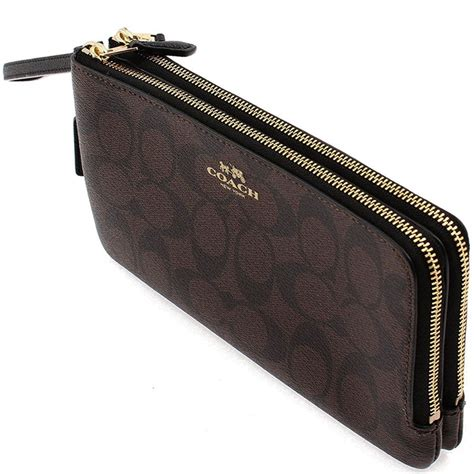 spreesuki coach zip large wristlet wallet in signature black brown f54057