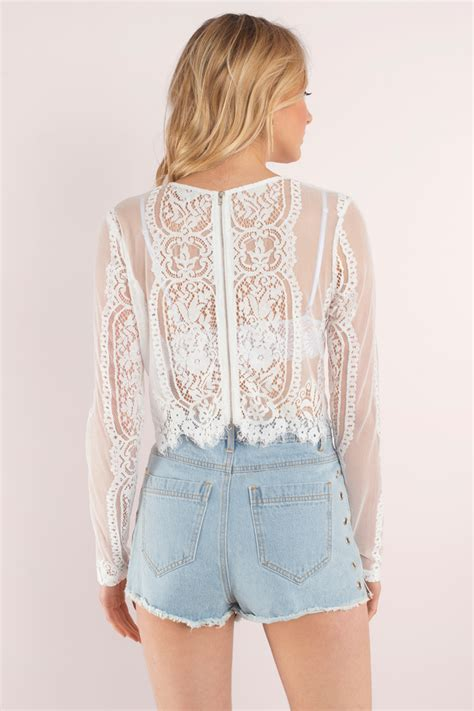Top Lace Crop white crop top white top lace top 64 00