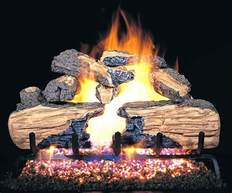 How To Light A Gas Log Fireplace by Real Fyre 18 Quot Charred Split Oak Vented Gas Logs