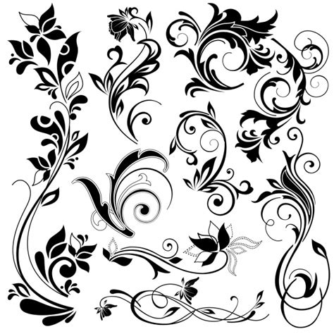 Floral Decorative floral decorative elements vector free