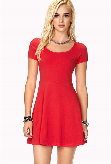 Dress Wanita By Forever21 lyst forever 21 sleeve skater dress in