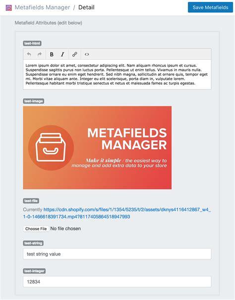 metafields manager tutorials