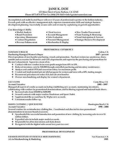 Procurement Resume Format by Purchasing Resume Exle