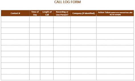 5 Call Log Templates To Keep Track Your Calls Free Call To Templates