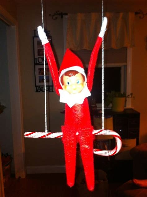 elf on the shelf swing elf on the shelf swinging on a candycane holiday