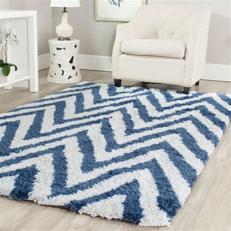 Blue Chevron Area Rug Safavieh Chevron Shag Ivory Blue 8 Ft X 10 Ft Area Rug Sg250a 8 The Home Depot