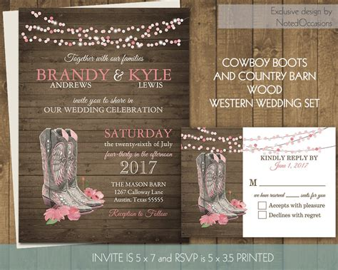 western wedding invitations templates printable country western wedding invitations set cowboy boots