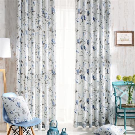 Elegant blue floral patterned curtain country style