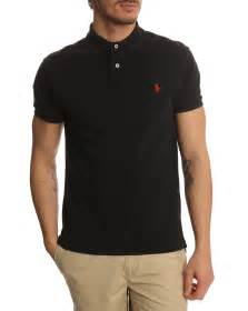 polo ralph slim fit black polo shirt in black for