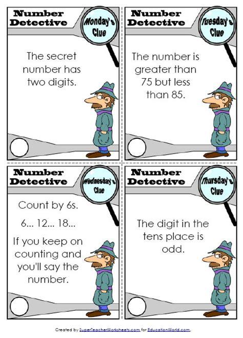 social detective worksheets teachers number detective worksheet education world
