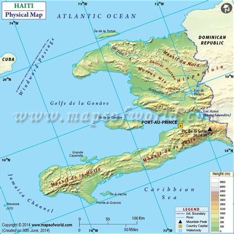 map of haiti physical map of haiti