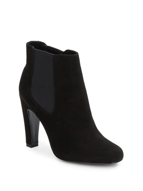 vince camuto signature galahad suede ankle boots in black