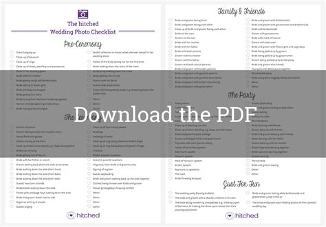 Wedding Checklist Uk Pdf by Wedding Photos Checklist 121 Must Photo Ideas