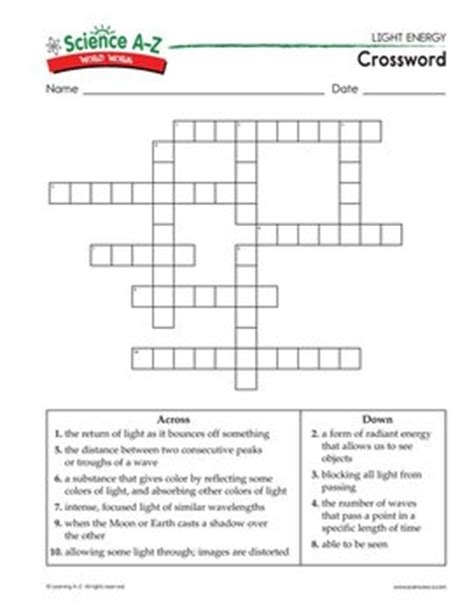Light Crossword Puzzle Worksheet by Science A Z Light Energy Grades 5 6 Physical Science Unit