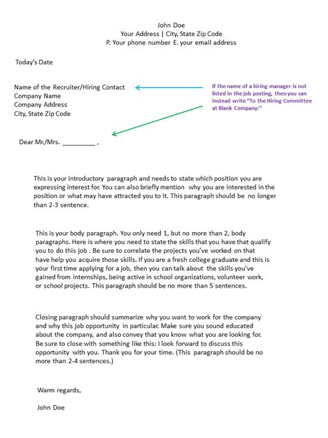 cover letter format for application template of a cover letter for application exle
