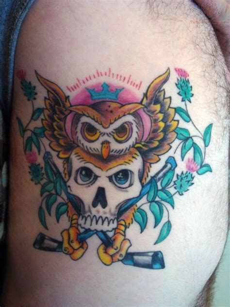 owl head tattoo crown owl and skull