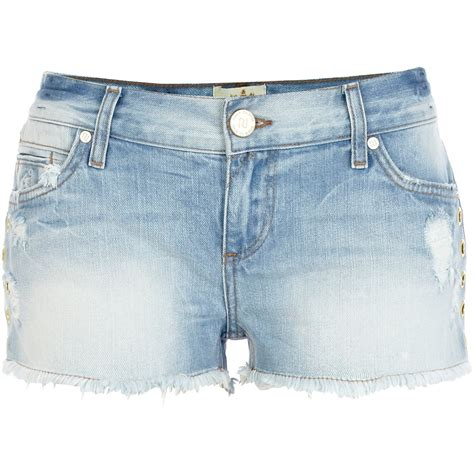 light blue jean shorts river island light wash eyelet embellished denim shorts in