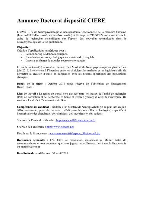 Exemple De Lettre De Motivation Thèse Cifre Annonce Pdf Available