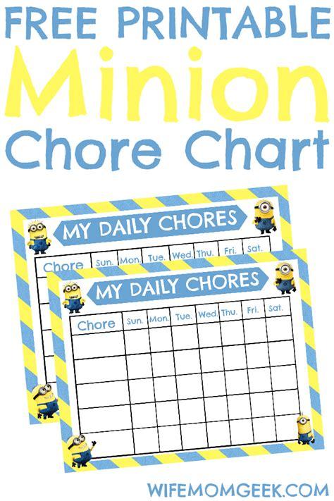printable reward charts minions minion chore chart free printable