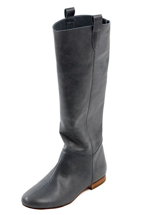 delphine conty flat leather knee boots from germain