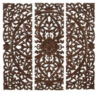 Decorative Wall Plaques by Benzara Carved Wood Wall Panels Sculpture