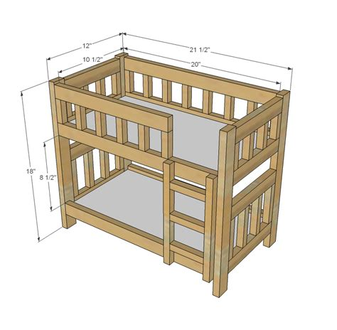 Diy Bunk Bed Plans White C Style Bunk Beds For American Or 18 Dolls Diy Projects