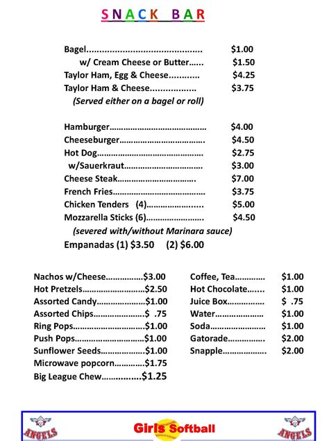 concession stand menu template 18 images of concession stand price sheet template