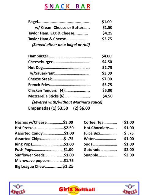 concession menu template 25 images of concession menu template blank ballapark