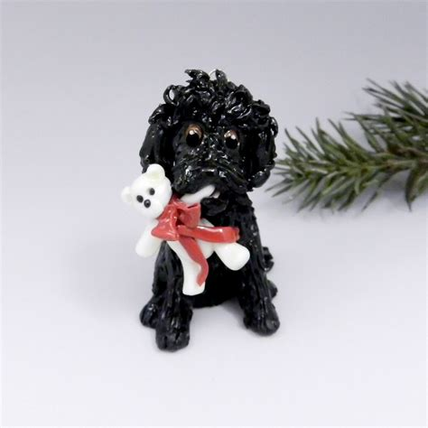 cockapoo black christmas ornament figurine teddy bear