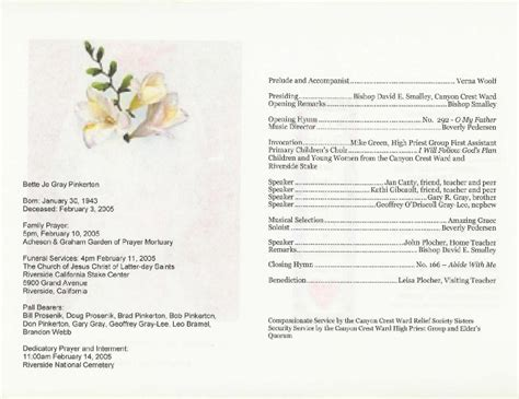 funeral biography template best photos of funeral service program template sle