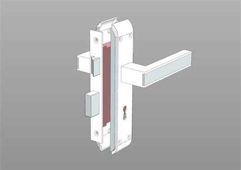 door lock handle  cad model library grabcad