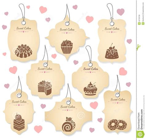 imagenes vintage baños cakes and desserts tag labels stock vector image 52733726