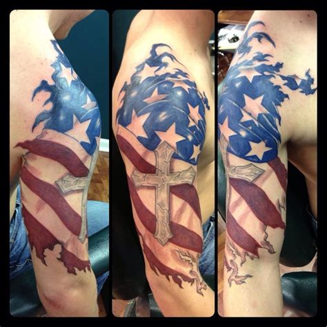 cross flag tattoo 30 patriotic american flag sleeve amazing