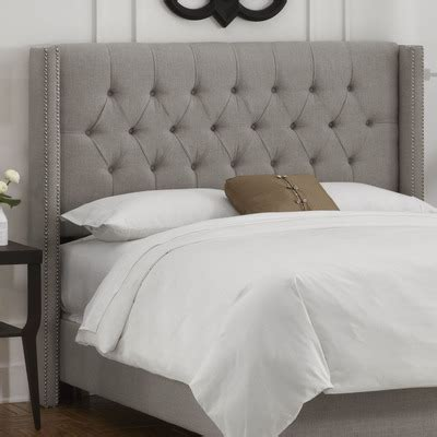 buy tufted upholstered headboard color linen grey size king