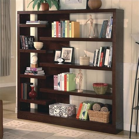 coaster 4 shelf wide semi backless bookcase in cappuccino