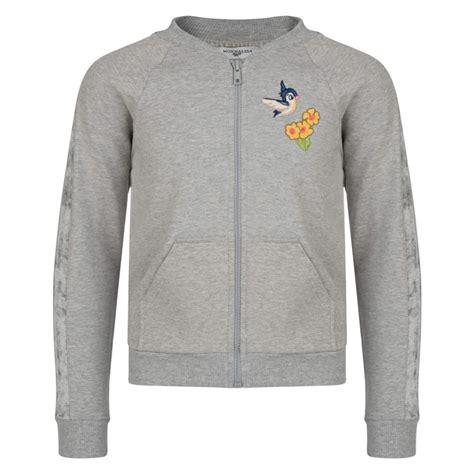 Pattern Bomber Sweatshirt | monnalisa girls grey bomber sweatshirt with embroidered