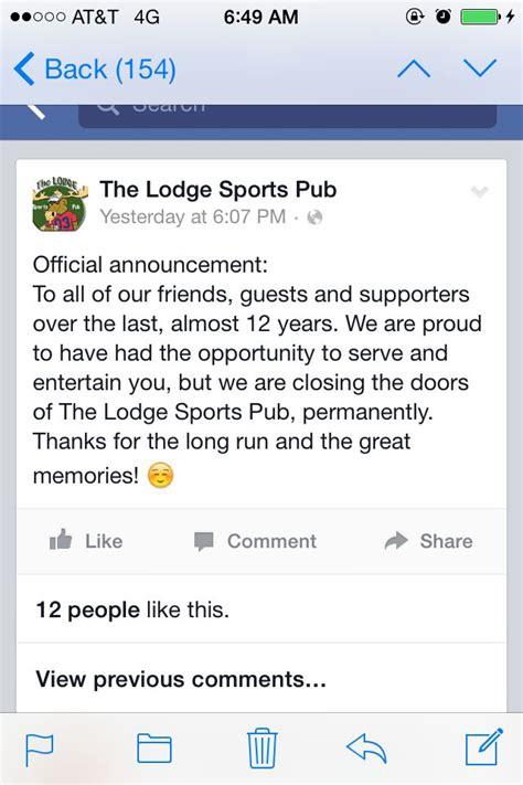 testo closing time the lodge sport pub announces permanent closing