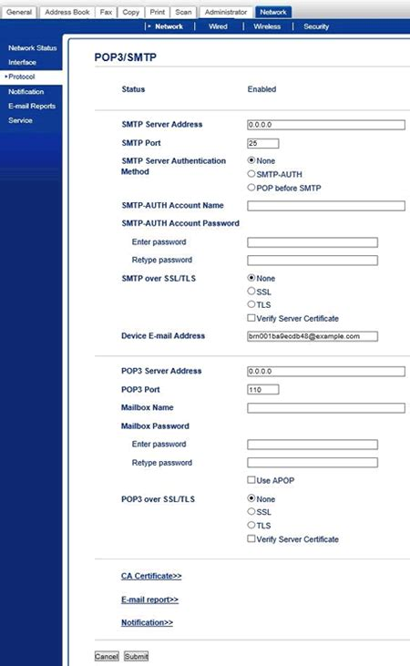 configure    scan   mail server feature brother