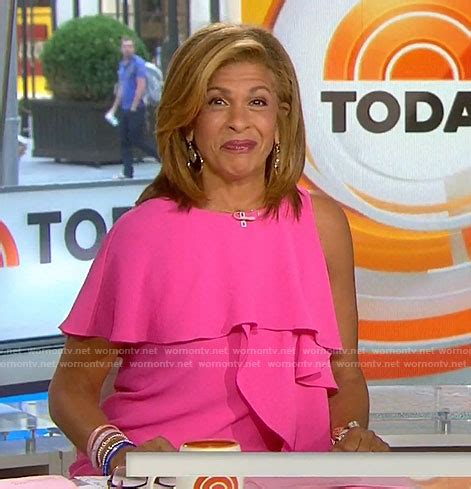 wornontv hoda s pink ruffle one shoulder dress on today