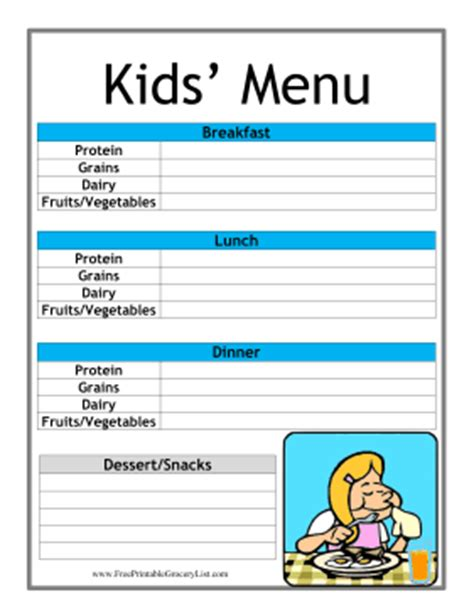 printable meal planner for toddlers printable kid daily menu planner