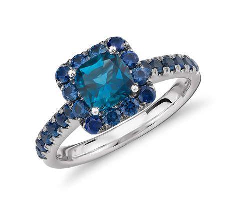 Blue Nile Studio London Blue Topaz and Sapphire Halo Ring