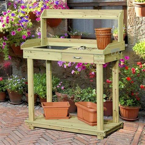 potting table with sink wood potting bench table with sink and outdoor