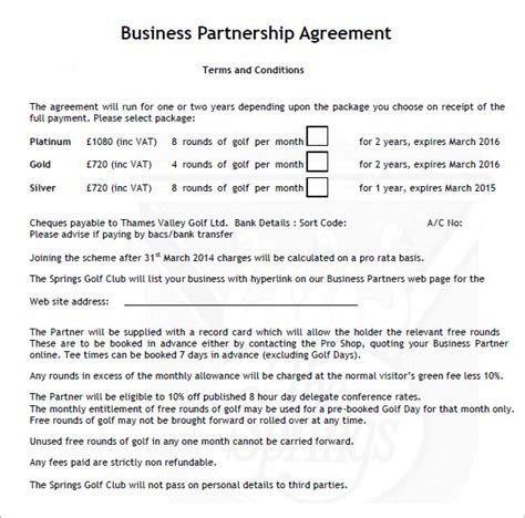 business agreements templates business partnership agreement 6 documents in