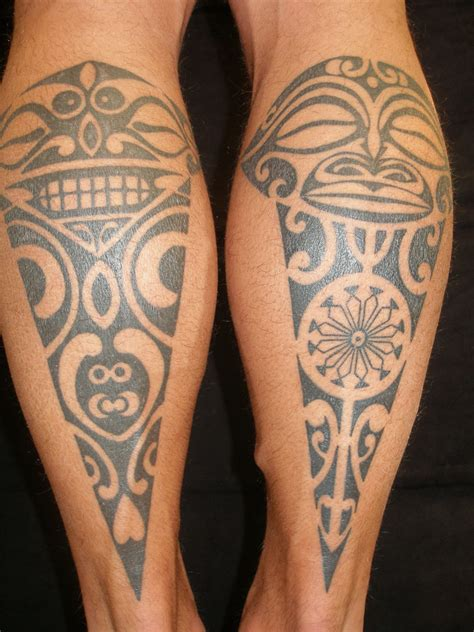 tribal tattoo on leg polynesian designs cool ideas designs exles
