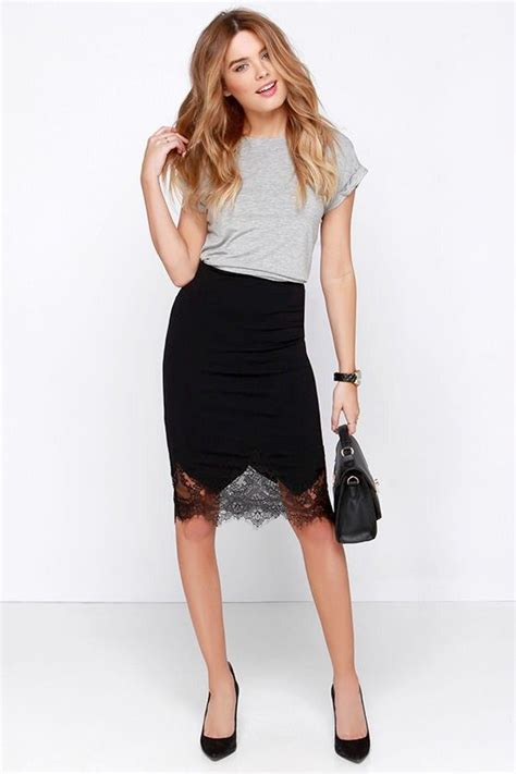 Lace Flower Midi Pencil Bodycon Skirt Rok Black Hitam Brukat Brokat Best 25 Lace Skirt Ideas On Lace Skirt