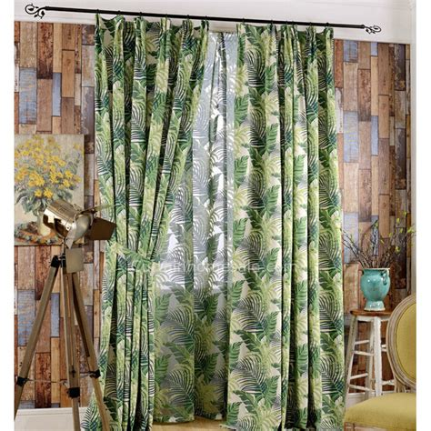 country curtain fabric eco friendly cotton fabric printed fresh green leaf tropic