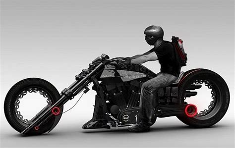 futuristic motorcycle lochness chopper concept
